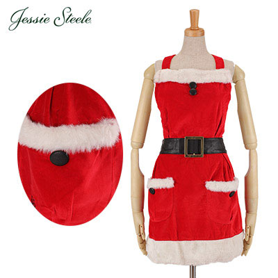 Jessie Steele ジェシースティール Mrs. Clause Apron ミスタークローズエプロン Red Velvet レッド 457-JS-002V カフェトワレ