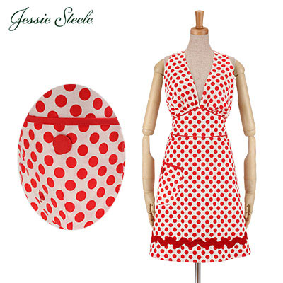 Jessie Steele �W�F�V�[�X�e�B�[�� Bombshell Apron �{���o�[�V�F�� �G�v���� White and Red �� & �ԃh�b�g 452-JS-94Z �J�t�F�g����