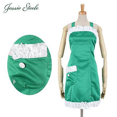 �y365��o�בΉ��zJessie Steele �W�F�V�[�X�e�B�[�� Antoinette Apron �A���g���l�b�g �G�v���� Green Satin �O���[�� 456-JS-GRN