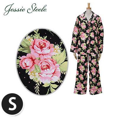 �y365��o�בΉ��zJessieSteele �W�F�V�[�X�e�B�[�� �p�W���} 1000-JS-158B Cottage Rose Black Pajama Set ���[�Y�u���b�N �R�b�g��100��