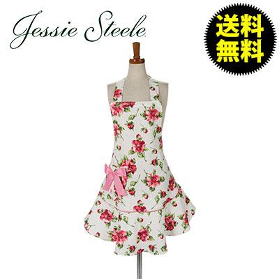 �yJessieSteele�z �W�F�V�[�X�e�B�[�� Josephine Apron Pink Magnolias White �s���N�}�O�m���A �z���C�g 111-JS-250W