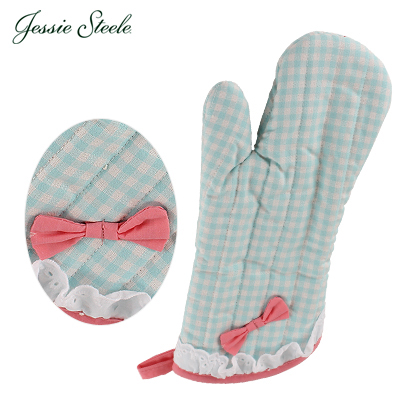 �y365��o�בΉ��z Jessie Steele �W�F�V�[�X�e�B�[�� Oven Mitt w/Bow�~�g��Blue and White Gingham �u���[ & �z���C�g 515-JS-149B