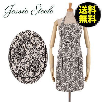 Jessie Steele �W�F�V�[�X�e�B�[�� �V�F�t �G�v���� Cream and Black Bouquet Damask �N���[�� �� �u���b�N 459-JS-229C �J�t�F�g����