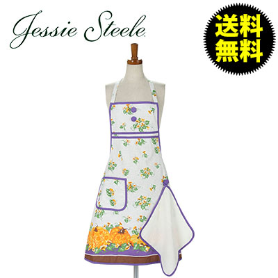 【JessieSteele】 ジェシースティール Gigi Apron with Towel Carved Pumpkins Border 101-JS-266 カフェトワレ