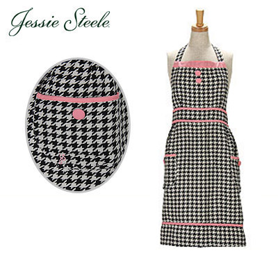JessieSteele �W�F�V�[�X�e�B�[���@�G�v���� �u���b�N&�N���[�� 115-JS-80 Bib�@Apron BlackCream Woven Houndstooth �J�t�F�g���� �l�R�|�X����