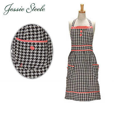 �W�F�V�[�X�e�B�[���@�G�v���� �u���E��&�N���[�� 115-JS-80B Bib Apron Brown Cream Woven Houndstooth �J�t�F�g���� �l�R�|�X����